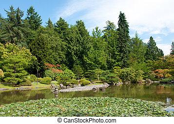 Japanese garden landscape with pond