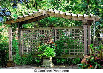 Japanese garden - Lush japanese garden with wooden gate...