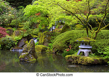 Japanese Garden Pond - Japanese Gardens in Portland, Oregon
