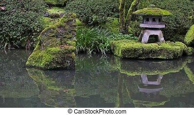 Japanese Garden pond reflection hd - High definition movie...