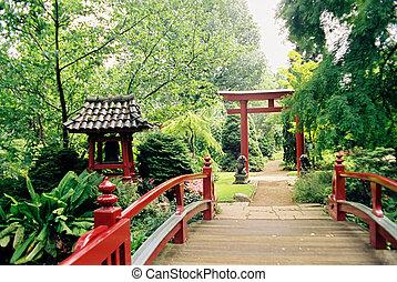 Japanese garden - Red bridge enterance to small japanese ...