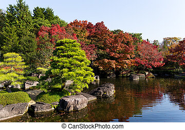 Japanese garden with autumn scene
