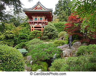 Japanese garden with house