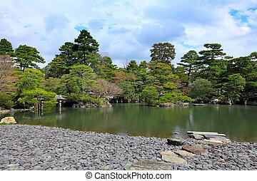 Japanese garden with sky