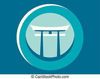 Japanese Gate. Torii flat icon. Logo. Circular pictogram....