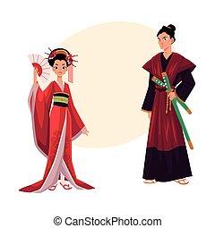 Japanese geisha and samurai in traditional kimono, symbols of Japan