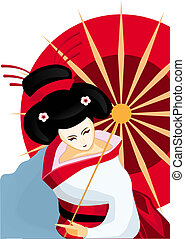 japanese geisha with umbrella