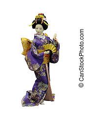 geisha toy - Japanese geisha toy isolated on white ...