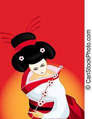 japanese geisha with a branch - japanese geisha with a...