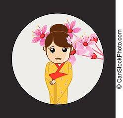Japanese Geisha with Flowers