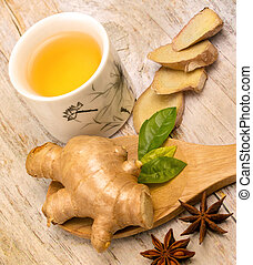 Japanese Ginger Tea Shows Natural Spice And Refreshed