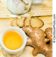 Japanese Ginger Tea Shows Spice Spices And Cup