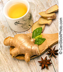 Japanese Ginger Tea Shows Star Anise And Cup