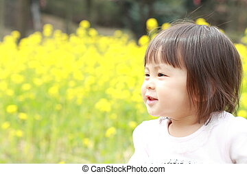 Japanese girl and field mustard