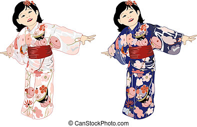 Japanese Girl in Colorful Kimonos - Vector drawing of young...