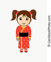 Japanese Girl in Kimono Dress