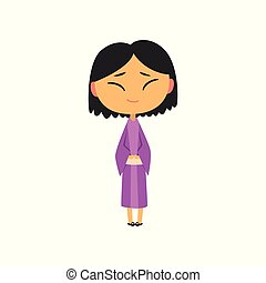 Japanese girl in national clothes, kid cartoon character in traditional costume vector Illustration on a white background
