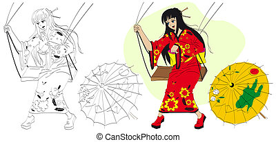 Japanese girl on a swing