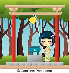 Japanese Girl Praying - Little Japanese girl with yukata...