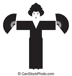 japanese girl silhouette on white