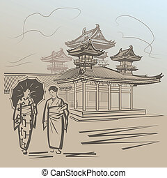 Japanese girls walking near temple in Japan