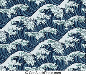 Japanese Great Wave Seamless Pattern Background