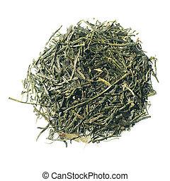 Japanese green premium Sencha tea isolated over white