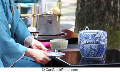 Japanese green tea ceremony - KAGAWA, JAPAN - SEPTEMBER 20,...