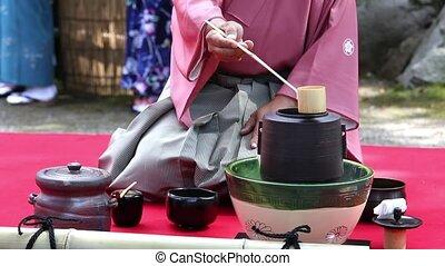 Japanese green tea ceremony - KAGAWA, JAPAN - SEPTEMBER 23,...