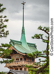 Japanese green temple roof