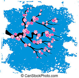 Japanese grungy style sakura blossom  - vector illustration