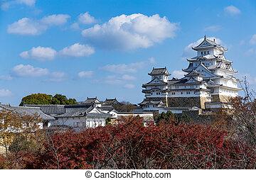 Japanese Himeiji Castle and maple tree