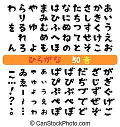 Japanese hiragana fonts, Japanese syllabary, vector set