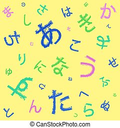 Japanese hiragana syllabary seamless background. VECTOR. Yellow colored background template.
