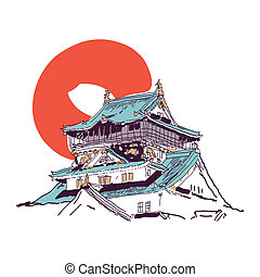 Japanese house drawing - Vector drawing sketch of...
