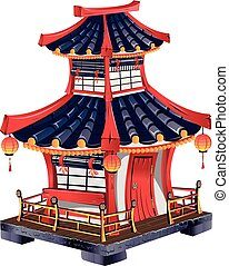 Japanese house with roof tiles