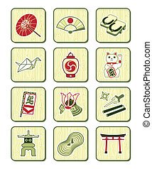 Japanese icons | BAMBOO set - Traditional japanese culture...