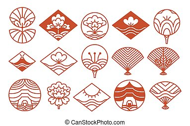 Japanese Icons Collection Red Vector Illustration