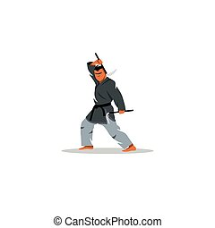 Japanese Kama martial arts. Vector Illustration.