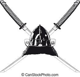 Japanese katana and helmet