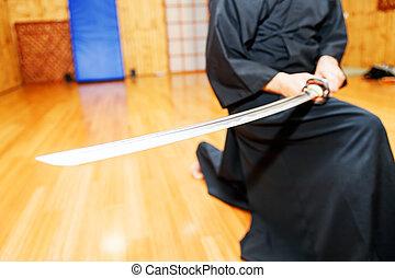 Japanese katana sword - Detail of Japanese katana sword in...