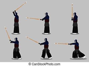 Japanese Kendo Martial Arts Vector Icon Set - Set of six...