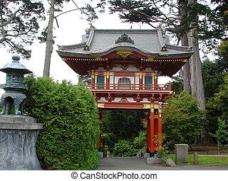 japanese kert, noha, épület