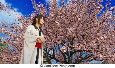 Attractive japanese kimono girl under lush blooming sakura tree in full blossom and pink cherry flower petals falling in slow motion at spring day. Low angle view 3D animation rendered in 4K