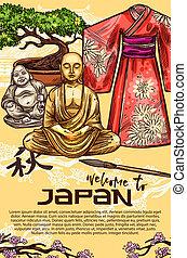 Japanese kimono, pagoda, bonsai and Buddha statue