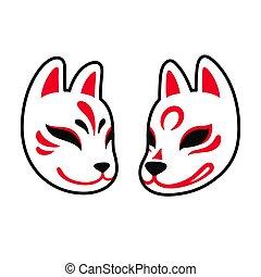Japanese Kitsune fox and wolf mask