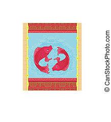 Japanese Koi Fish or Chinese Carp card