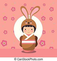 japanese kokeshi doll in kimono animal costume vector...