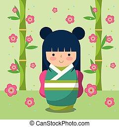 japanese kokeshi doll in kimono vector illustration