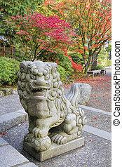 Japanese Komainu Male Foo Dog Sculpture